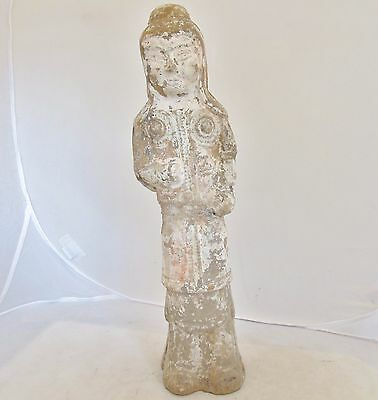 "Antique SUI Dynasty ? Chinese Clay or Pottery Painted Kwan Yin Statue  (14"")"