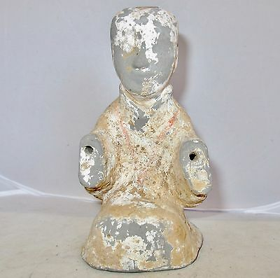 "Antique HAN Dynasty ? Chinese Clay Pottery Painted Buddha / Monk Statue  (6.8"")"