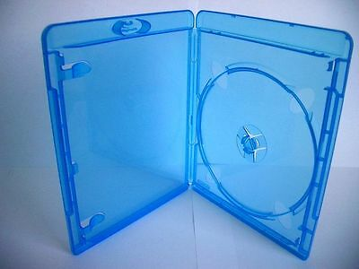 20 ESTUCHES / CAJAS SIMPLES - 1 BLURAY - 11mm - AZUL TRANSPARENTE - Marca AMARAY