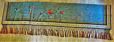 "Large & Fine 95"" x 30"" ANTIQUE CHINESE SILK Embroidery  c. 1890  tapestry"