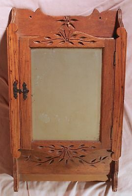 Antique Victorian Decorative Oak Wood Medicine Apothecary Cabinet Beveled Mirror