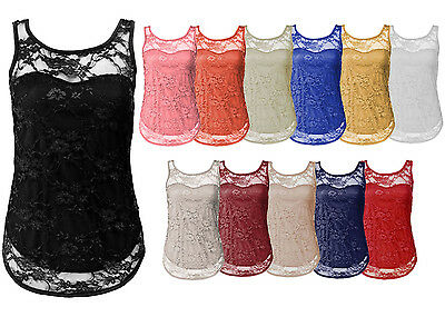 Ladies Stretch Bodycon Sleeveless Lace Top Womens T-Shirt Vest Top