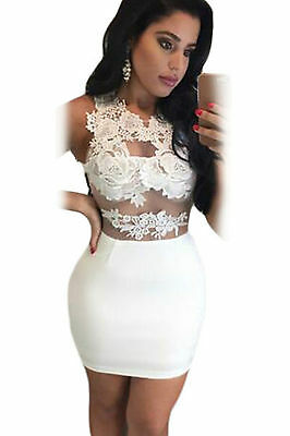Abito a cono ricamato Zip trasparente nudo Lace Nude Mesh Party Mini Dress M