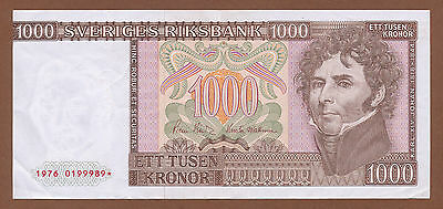 "Sweden, 1000 Kronor 1976 (0199989*) P-55a VF+ ""Replacement"""