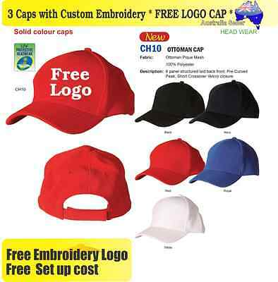 3 Custom Embroidered Caps Hats * FREE LOGO Embroidery * Racing CAP Sports 705
