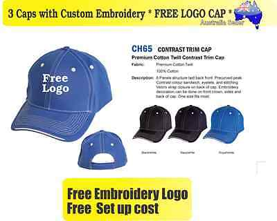 3 Custom Embroidered Caps Hats * FREE LOGO Embroidery * TEAM CAP Sports 720