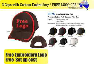 3 Custom Embroidered Caps Hats * FREE LOGO Embroidery * Racing CAP Sports 711