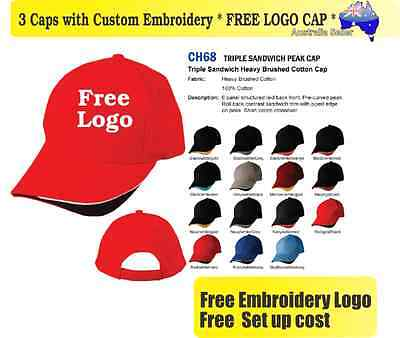 3 Custom Embroidered Caps Hats * FREE LOGO Embroidery * TEAM CAP SPORTS 714