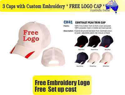 3 Custom Embroidered Caps Hats * FREE LOGO Embroidery * TEAM CAP Sports  712