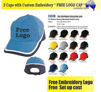 3 Custom Embroidered Caps Hats * FREE LOGO Embroidery * TEAM CAP SPORTS 719