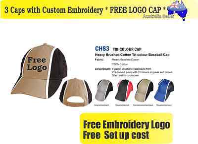 3 Custom Embroidered Caps Hats * FREE LOGO Embroidery * TEAM CAP SPORTS 715