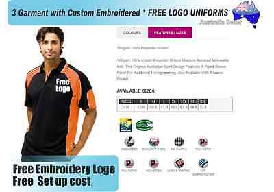 3  x  Custom Sports Polo wirh Your Embroidered * FREE LOGO UNIFORMS POLO 726