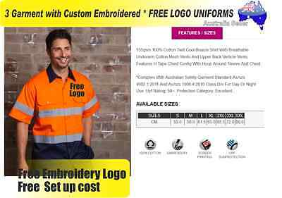 3  x HI VIS  Work shirts with Your Embroidered *FREE  LOGO  WORKWEAR 739