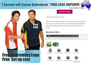 3  x  Custom Sports Polo wirh Your Embroidered * FREE LOGO UNIFORMS POLO 723
