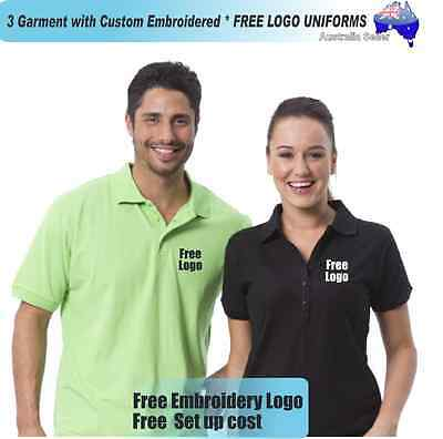 3  x  Custom Sports Polo wirh Your Embroidered * FREE LOGO UNIFORMS POLO 728