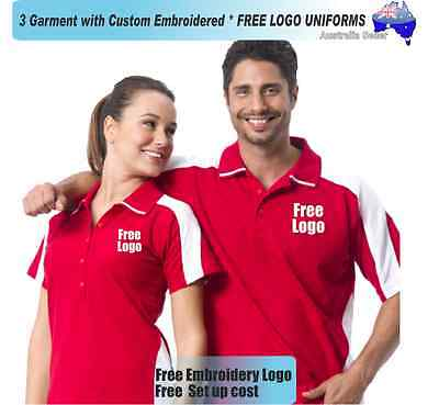 3  x  Custom Sports Polo wirh Your Embroidered * FREE LOGO UNIFORMS POLO 730