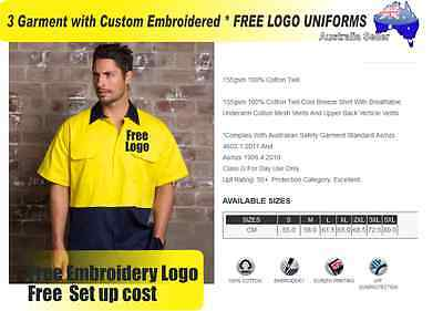 3  x HI VIS  Work shirts with Your Embroidered * FREE  LOGO  WORKWEAR 736