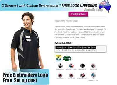 3  x  Custom Sports Polo wirh Your Embroidered * FREE LOGO UNIFORMS POLO 729