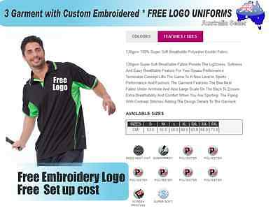 3  x  Custom Sports Polo wirh Your Embroidered * FREE LOGO UNIFORMS POLO 724