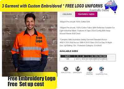 3  x HI VIS  Work shirts with Your Embroidered *FREE  LOGO  WORKWEAR 738