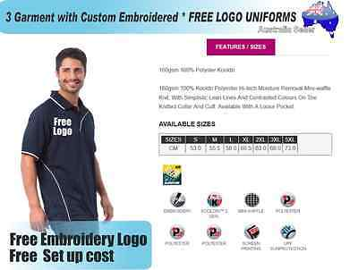 3  x  Custom Sports Polo wirh Your Embroidered * FREE LOGO UNIFORMS POLO 734