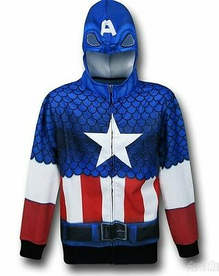 NWT Marvel Captain America Sublimated Hoodie Cosplay Zip Front S Lightweight