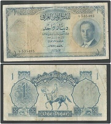 Iraq 1 Dinar 1947 Banknote in (VF) Condition P-29 King Faisal II
