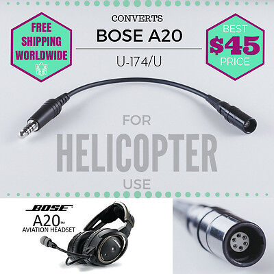 Bose A20 6 Pin Lemo Connector To U174 Plug Helicopter Adapter Cable  (U-174)