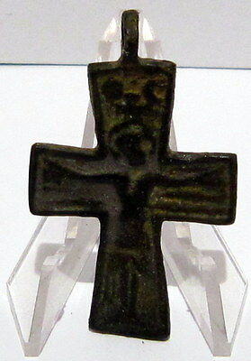 Outstanding Medieval Or Post Medieval Bronze Amulet Cross # 12B