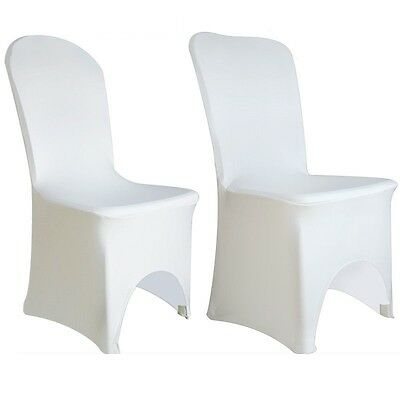 100/50 White Covers Spandex Lycra Chair Cover Wedding Banquet Party ARCHED FLAT