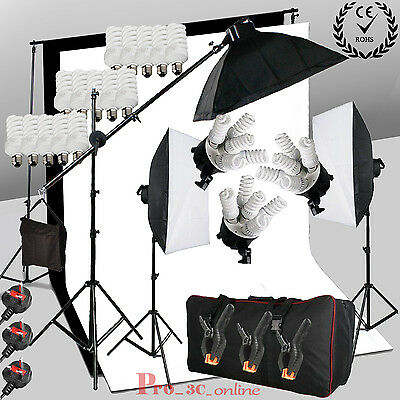 Pro Photo 2850W Continuous Lighting Boom Arm Softbox Black White Background Kit