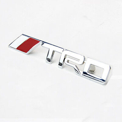 3D Silver Metal TRD Logo Front Grille Emblem Badge Decal Car Sticker For Toyota