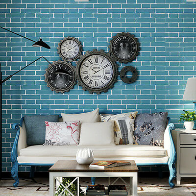 10M Brick Stone Pattern 3D Textured Non-woven Flocking Wallpaper Wall Paper Roll