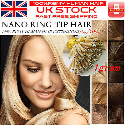 "Grade 7A Straight 16''-22"" 1g/s Nano Ring Tip 100% Remy Human Hair Extensions UK"