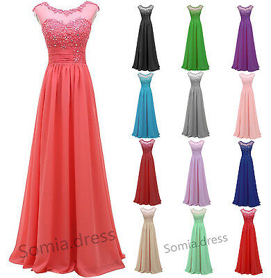 Long Lace Formal Chiffon Ball Gown Evening Party Bridesmaid Prom Dress Long Maxi