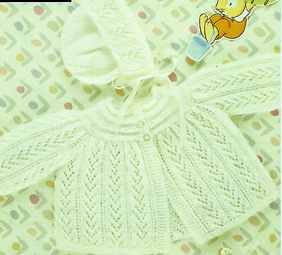 """#54 Baby Girl 3ply Coat Bonnet & Bootees 18-19"""" 46-48cm Vintage Knitting Pattern"""