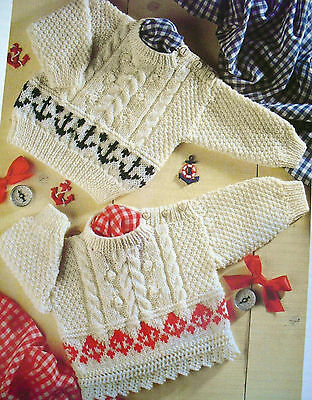 "#55 Girl Boy DK Cable & Charted Sweater 16-22"" 41-51cm Vintage Knitting Pattern"