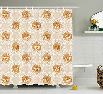 Vintage Rose and Victorian Style Royal Circle Ornate Print Shower Curtain Set