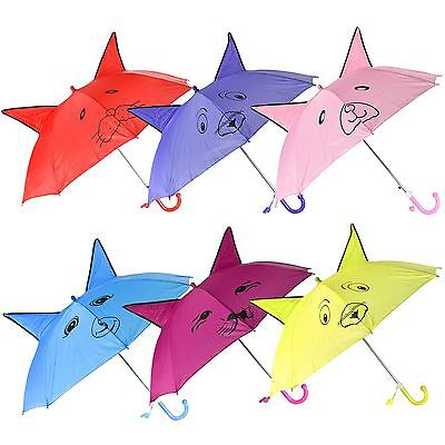 Kids Childrens Novelty Animal Dome Umbrella Rain Brolly Tie With Whistle