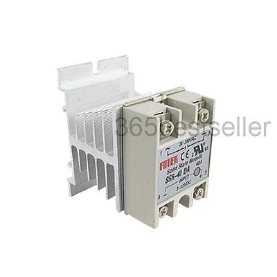 Single Phase Solid State Relay SSR-40DA 40A 24-380V AC w Heat Sink