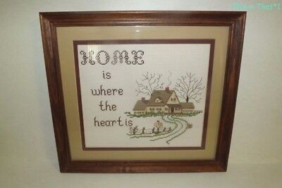 Vintage Framed & Matted Home is Where The Heart Is Cross Stitched Art Picture