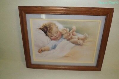 Vintage BESSIE PEASE GUTMANN Print Framed & Matted Picture Nursery Art Dreams