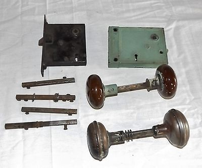 Lot of Miscellaneous Vintage Doorknobs Latches Hardware Metal and Brown Swirl