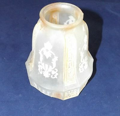 "Antique Frosted Glass Lamp Light Sconce Shade 2 1/4 OD at lip 4 1/2 Dia 5"" tall"