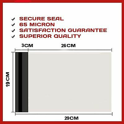 100 Poly Bag Courier Shipping Parcel Plastic Satchel Mailer Post Seal 190X260Mm