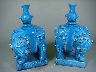 Beautiful Chinese blue  glaze porcelain a pair elephants of Candle holder