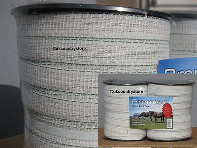 White 20mm Electric Fence Tape 2 x 200m Twin Pack Horse Fencing Poly Tape