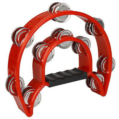 BT Hand Held Tambourine Double Row Metal Jingles Percussion Red