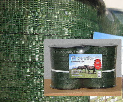 Green 20mm Electric Fence Tape 2 x 200m Twin Pack Horse Fencing Poly Tape
