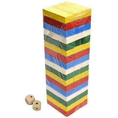 51 Pcs Colour Wooden Blocks Tower Stacking Game Classic Tumbling Jenga Building